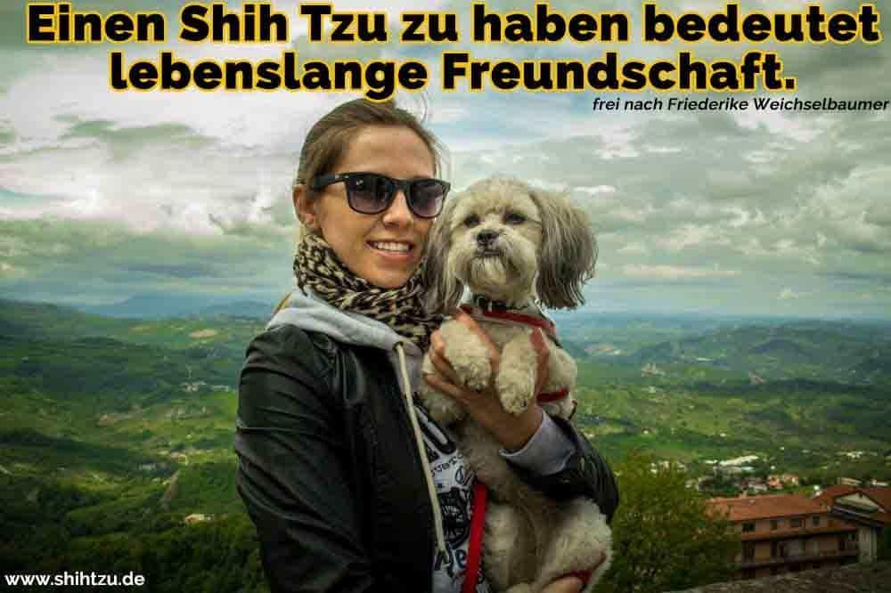 Eine Frau umarmt ihren Shih Tzu